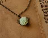 Sage Mint Green Flower Necklace with Cabochon Dahlia & Burnished Brass Accent Leaves Vintage Style Woodland Victorian Style, Valentines Gift