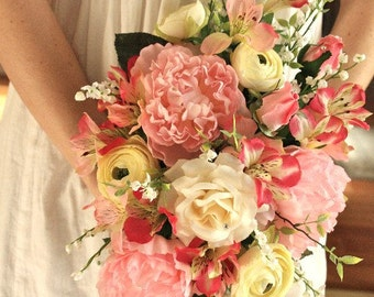 Pink Peony Cream Ranunculus Wedding Bouquet Silk Bouquet (Large Bouquet)