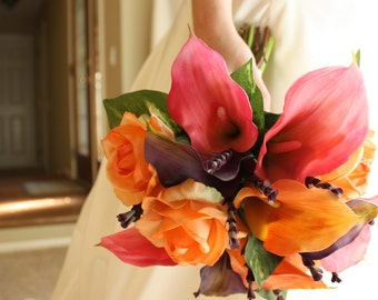 Calla Lily Bouquet: Real Touch in Pink, Purple, and Orange for Summer Wedding, Spring Wedding, Fall Wedding