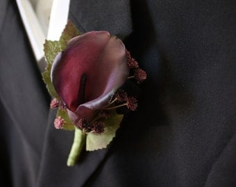 Purple Calla Lily Boutonniere Real Touch
