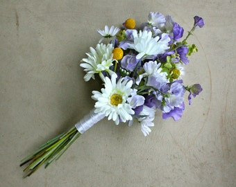 Daisy, Sweet Pea, and Billy Balls Artificial Wedding Bouquet (Purple, Yellow, White Bouquet)