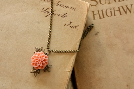 Coral Flower Necklace with Cabochon Dahlia & Burnished Brass Accent Leaves Vintage Style Victorian Style, Valentines Gift