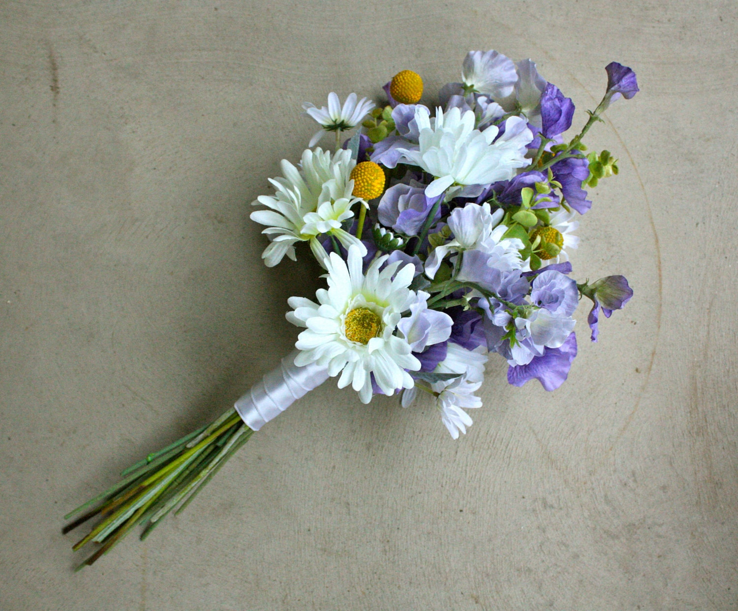 Daisy sweet pea and billy balls artificial wedding bouquet zoom dhlflorist Gallery
