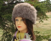 Walnut Brown Alpaca Knit Felt Furry Hat Boxy Crusher