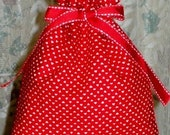 Tiny Valentine Hearts Small Fabric Gift Bag - Valentines Day, Romance, Love, Red, White, Romantic