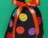 Smiley Faces Small Fabric Gift Bag - Smile, Face, Red, Blue, Orange, Yellow, Lime Green, Pink, Purple, Black, Fun, All Occasion