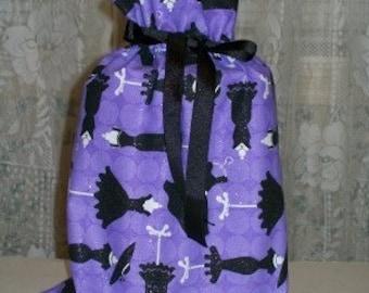 Black Dresses on Purple Medium Fabric Gift Bag - Dress, Hats, Dressforms, Glitter, White, Fashion, Style, Stylish