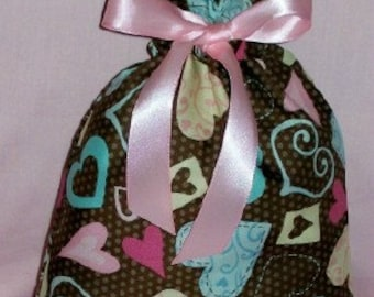 Valentine Pastel Hearts on Brown Dots Small Fabric Gift Bag - Valentines Day, Romance, Love, Pink, Blue, Creamy Beige, Romantic, Understated