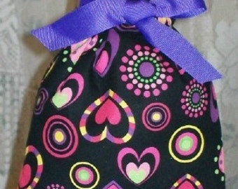 Valentine Hearts, Circles, Dots on Black Small Fabric Gift Bag - Valentines Day, Purple, Pink, Lime, Yellow, Romance, Love, Romantic