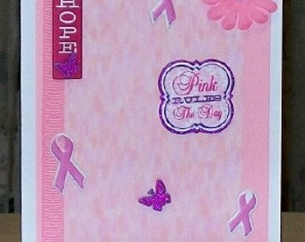 SALE - Pink Ribbon Girlfriends Blank Greeting Card - Breast Cancer, Survivor, Cure, Running, Marathon, Race, Courageous, Purple, White