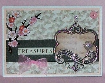 Pink Treasures Blank Greeting Card - Butterflies, Cherry Blossoms, Flowers, Jewels, Beige, Brown, Glitter, All Occasion
