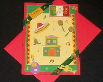 Fiesta Blank Greeting Card - Hispanic, Latino, Spanish, Mexican, Ethnic, Party, Celebration, Music, Red, Yellow, Green, All Occasion