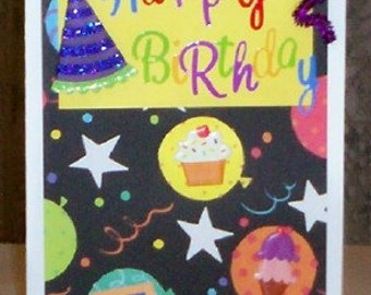 Birthday Party Time Blank Greeting Card - Happy Birthday, Cake, Cupcake, Ice Cream, Party Hat, Black, Yellow, Red, Purple, All Occasion