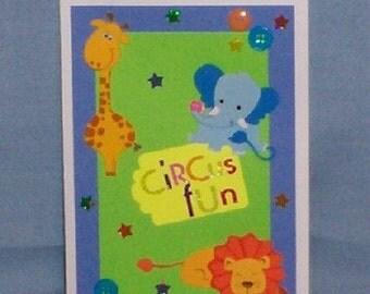 Baby Circus Animals Blank Greeting Card - Nursery, Giraffe, Elephant, Lion, Blue, Yellow, Green, Orange, Red, All Occasion