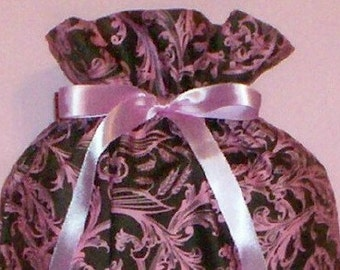 Pink Floral on Brown Medium Fabric Gift Bag - Flowers, Vine, Flourishes, All Occasion