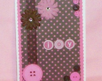 Joy on Pink and Brown Dots Blank Greeting Card - Polka Dots, Flowers, Jewels, White, All Occasion