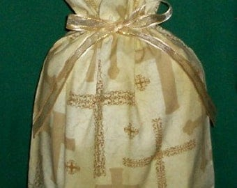 Gold Crosses Medium Fabric Gift Bag - Cross, Religious, Inspirational, Spiritual, Christian, Ministry, Faith, Easter