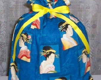 Asian Ladies Large Fabric Gift Bag - Asia, Oriental, Kimono, Flowers, Blue, Peach, Coral, Pink, Red, Beige, Yellow, Green, Black