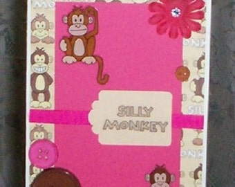 Silly Monkey Blank Greeting Card - Laughing Monkeys, Flower, Gemstone, Pink, Fuchsia, Brown, Tan, White