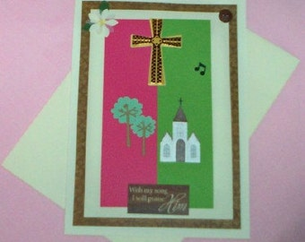 Church and Cross Blank Greeting Card - Praise, Music Notes, Spiritual, Religious, Ministry, Easter, Pink, Green, Brown, Gold, White, Black
