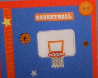 SALE - Basketball Goal Blank Greeting Card - Sports, March Madness, Hoop, Ball, Athlete, Athletic, Orange, Blue, White, Yellow, Black
