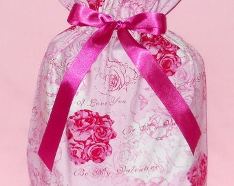 Be My Valentine Medium Fabric Gift Bag - Valentines Day, I Love You, Romantic Romance Hearts Bouquet Roses Flowers Floral Pink White Fuchsia
