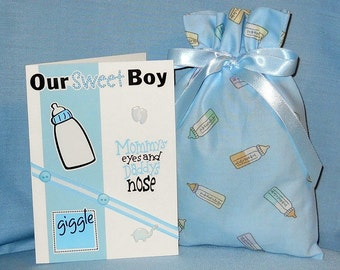Baby Bottle on Blue Small Fabric Gift Bag - Baby Shower, Babies, Boy, Girl, Yellow, Green, Lavender, White, Pastel