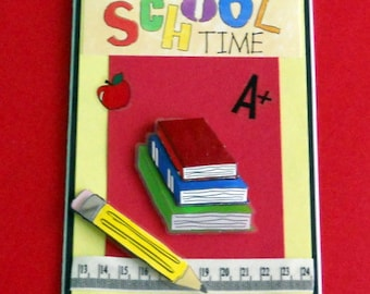 School Time Blank Greeting Card - Teacher, Student, Children, Elementary, Apple, Books, Red, Blue, Yellow, Green, Orange, Purple, Black