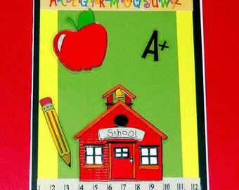 Schoolhouse Blank Greeting Card - Elementary Teacher, Student, Children, Apple, Pencil, Ruler, Alphabet, Red, Blue, Yellow, Green, Black