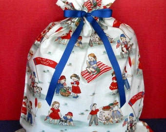 July 4th Picnic Large Gift Bag - Patriotic, Flag, Nostalgic, Old Fashioned, Children, Balloons, Red, White, Blue, Yellow