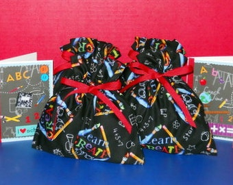 Chalkboard Set of 4 Extra Small Fabric Gift Bags & 4 Notecards - School, Teacher, Student, Party Favor Bags, Red, Blue, Yellow, Green, Black