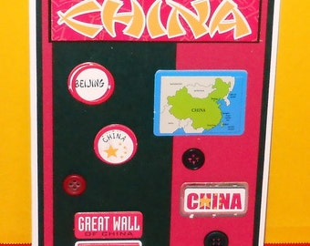 China Map Blank Greeting Card - Asian, Beijing, Great Wall, Oriental, Stars, Red, Black, Yellow, Blue, Green, White