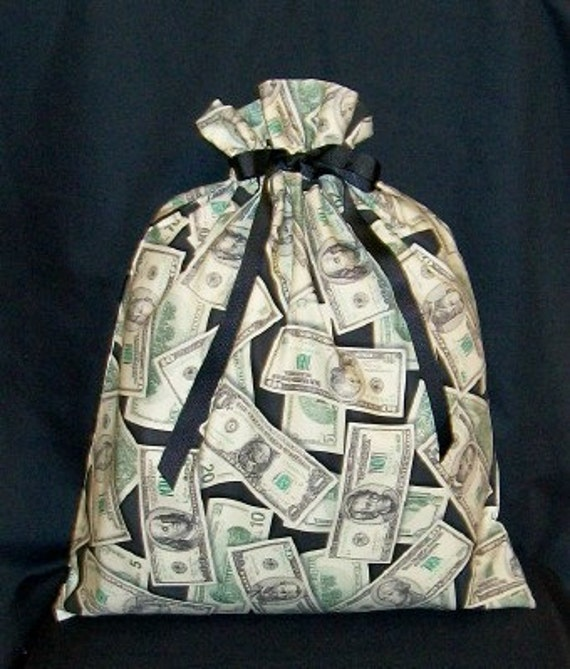 Money Large Fabric Gift Bag - Cash, Currency, Dollar Bill, Green, Black, Men, All Occasion