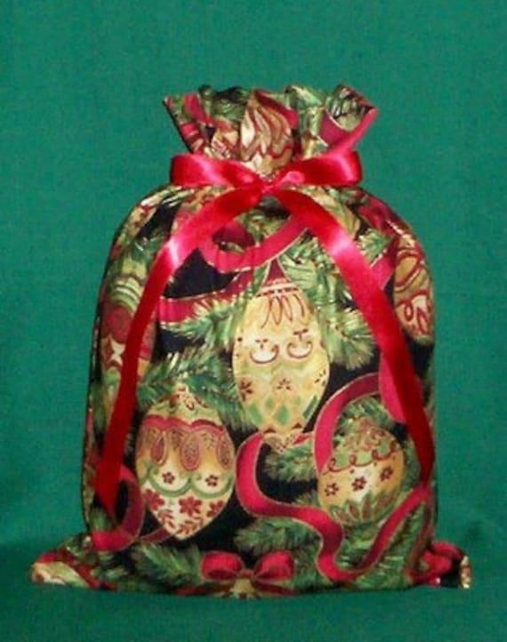 Christmas Ornaments Red, Gold Medium Fabric Gift Bag - Holidays, Decorations, Ribbon, Green, Black