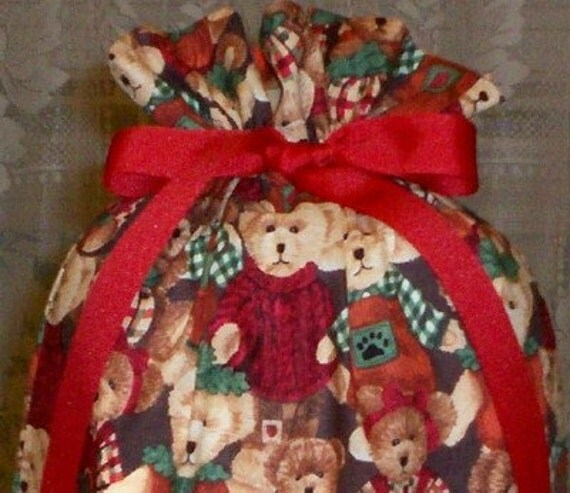 Christmas Bears Medium Gift Bag - Holidays, Teddy Bears, Children, Toys, Bear Clothes, Red, Green, Brown, Beige, Black