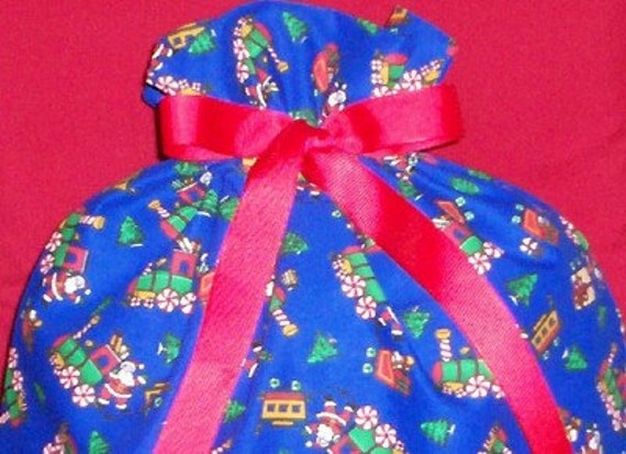 Toy Christmas Trains on Blue Large Gift Bag - Holidays, Toys, Santa Claus, Christmas Tree, Peppermint Candy, Choo Choo, Red, Green, White