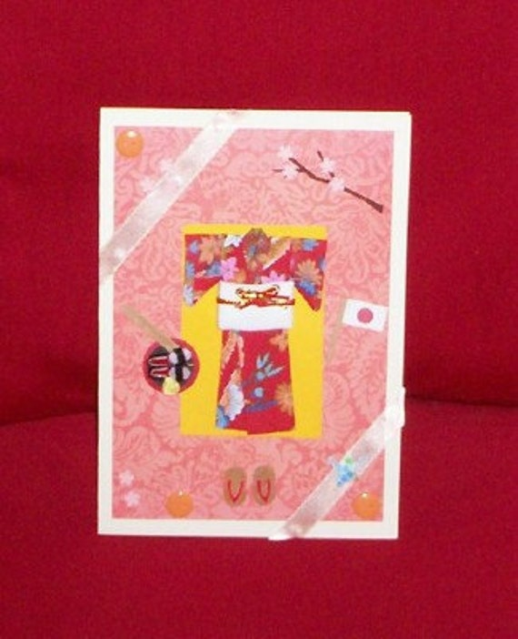 Asian Kimono Blank Greeting Card - Wooden Sandals, Japanese Flag, Sushi, Chopsticks, Origami, Cherry Blossoms, Red, Blue, Pink, Peach, Coral
