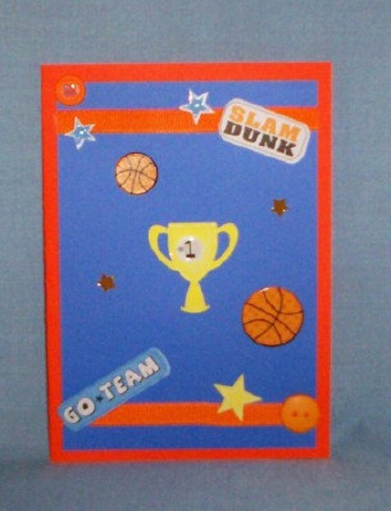 SALE - Basketball Trophy Blank Greeting Card - Sports, March Madness, Go Team, Ball, Athlete, Athletic, Orange, Blue, White, Yellow, Black