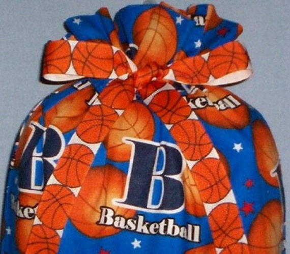 B is for Basketball Medium Fabric Gift Bag - Sports, March Madness, Team, Ball, Stars, Blue, Orange, White, Red, Black