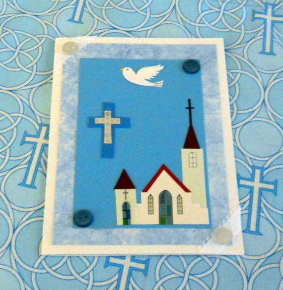 Cross, Church, and Dove Blank Greeting Card - Spiritual Sanctuary, Chapel, Steeple, Religious Faith, Christian Ministry, Easter, Blue, White