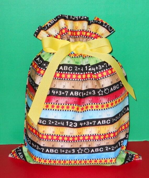 School Rulers Medium Fabric Gift Bag - Teacher, Student, Children, Elementary, Red, Blue, Yellow, Green, Orange, Black, White, All Occasion