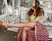 60s Vintage Dress Handmade CROCHET MAXI