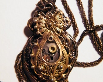 Portuguese Gold Steampunk Necklace