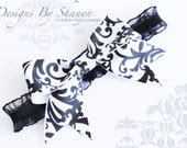 Damask Bow Black and White Garter