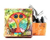 50% off Sale! October Halloween Autumn Owl Gift Box Collage on Etsy (Large)