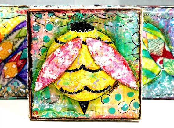 Original Artwork Shabby Chic Painting Yellow and Pink Bumble Bee on Etsy - Summer (4x4 canvas)