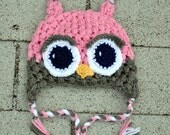 Puff Stitch Owl Earflap Hat - CHILD and TEEN SIZES