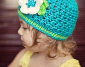 Textured Baby Beanie, Turquoise Lime Beanie, Flower Girl Beanie, MADE TO ORDER, Size Newborn to 3 Years