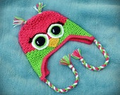 Crochet Owl Hat, Earflap Hat, Textured Owl Hat - BABY and TODDLER SIZE - Made to Order - Specify Size