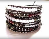 Pyrite, Garnet, and Rose Quartz Leather Wrap Bracelet.